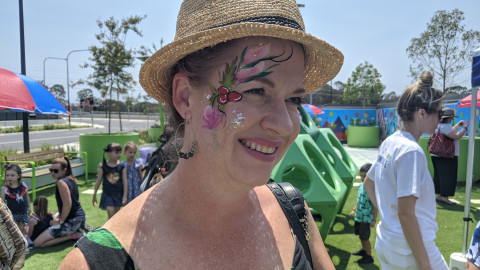 20191220 Vicki Cunningham with her face painted