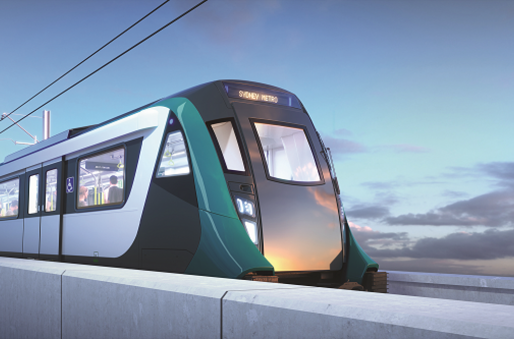 Train on Bridge Hero Sunset Teal Sydney Metro 1000
